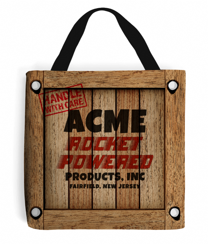 Acme Rocket-Powered Products Inc Crate - Road Runner Cartoon Inspired Tote Bag